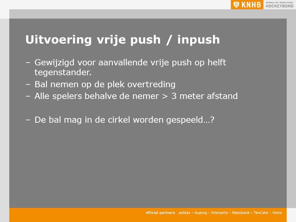 Uitvoering vrije push / inpush –Gewijzigd voor aanvallende vrije push op helft tegenstander. –Bal nemen op de plek overtreding –Alle spelers behalve d