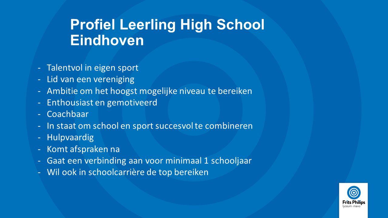 Profiel Leerling High School Eindhoven -Talentvol in eigen sport -Lid van een vereniging -Ambitie om het hoogst mogelijke niveau te bereiken -Enthousi