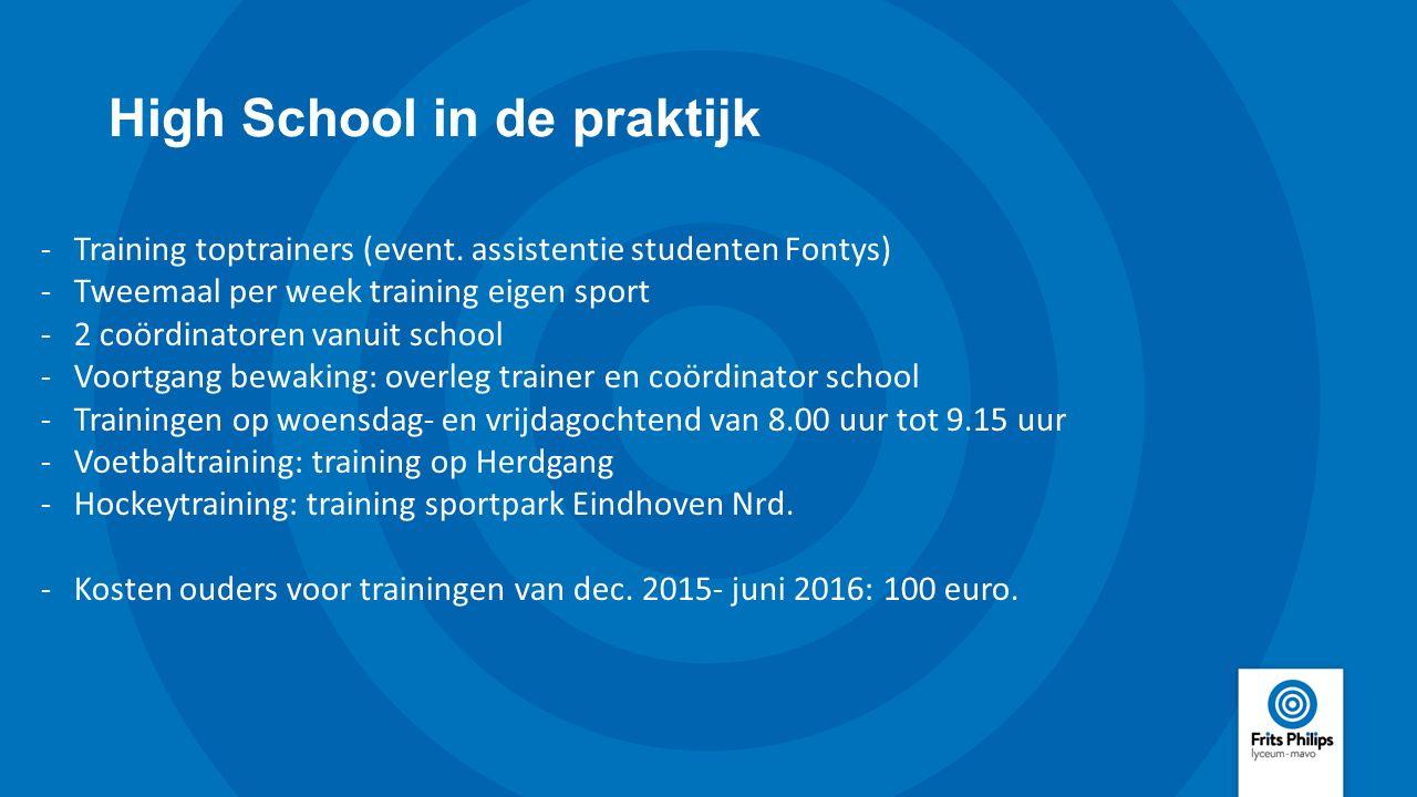 High School in de praktijk -Training toptrainers (event. assistentie studenten Fontys) -Tweemaal per week training eigen sport -2 coördinatoren vanuit