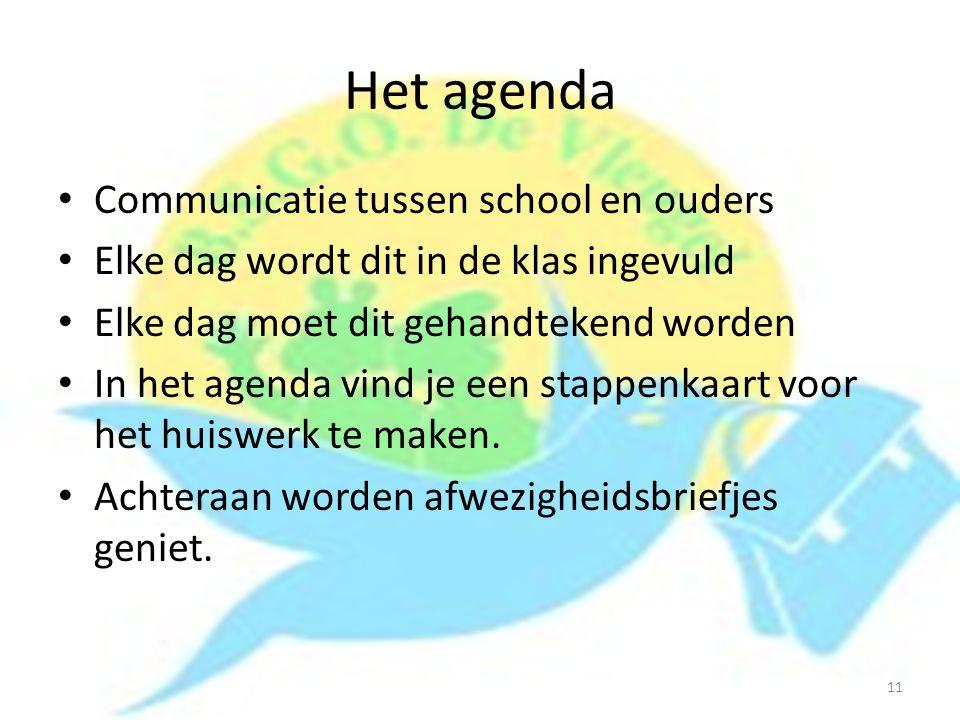 Het agenda Communicatie tussen school en ouders Elke dag wordt dit in de klas ingevuld Elke dag moet dit gehandtekend worden In het agenda vind je een