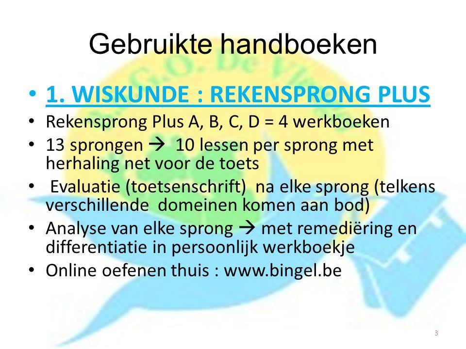 Gebruikte handboeken 1. WISKUNDE : REKENSPRONG PLUS Rekensprong Plus A, B, C, D = 4 werkboeken 13 sprongen  10 lessen per sprong met herhaling net vo