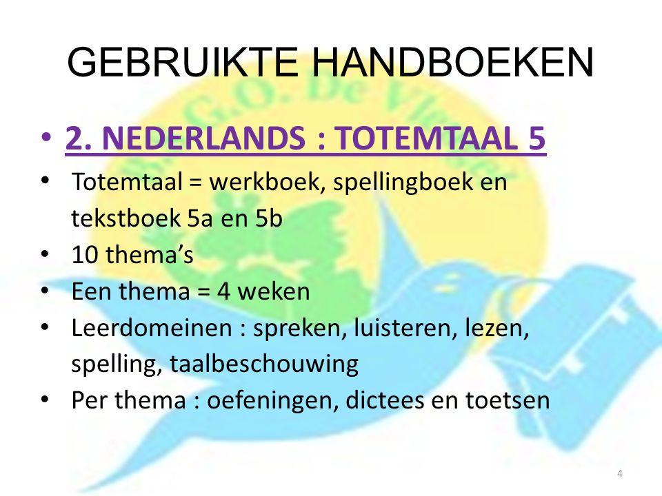 GEBRUIKTE HANDBOEKEN 2. NEDERLANDS : TOTEMTAAL 5 Totemtaal = werkboek, spellingboek en tekstboek 5a en 5b 10 thema's Een thema = 4 weken Leerdomeinen