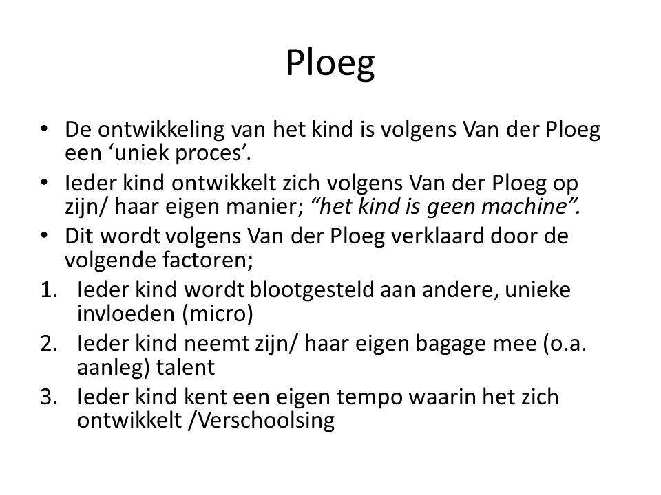 Ploeg De ontwikkeling van het kind is volgens Van der Ploeg een 'uniek proces'. Ieder kind ontwikkelt zich volgens Van der Ploeg op zijn/ haar eigen m