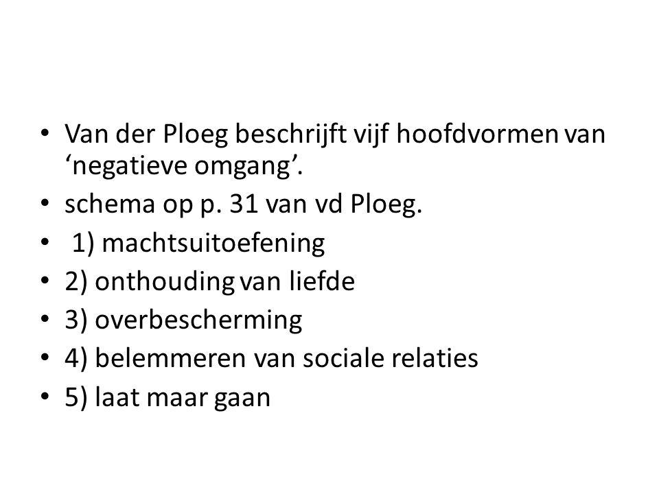 Van der Ploeg beschrijft vijf hoofdvormen van 'negatieve omgang'. schema op p. 31 van vd Ploeg. 1) machtsuitoefening 2) onthouding van liefde 3) overb