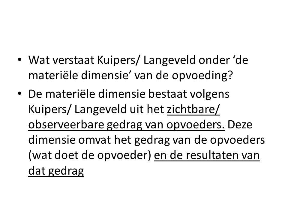 Wat verstaat Kuipers/ Langeveld onder 'de materiële dimensie' van de opvoeding? De materiële dimensie bestaat volgens Kuipers/ Langeveld uit het zicht