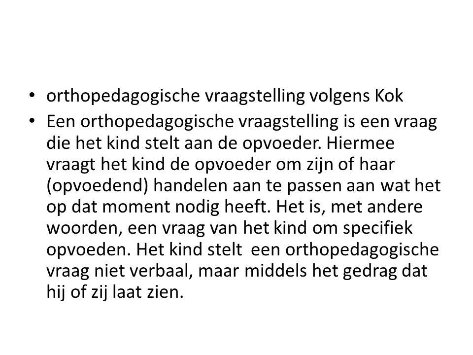 orthopedagogische vraagstelling volgens Kok Een orthopedagogische vraagstelling is een vraag die het kind stelt aan de opvoeder. Hiermee vraagt het ki