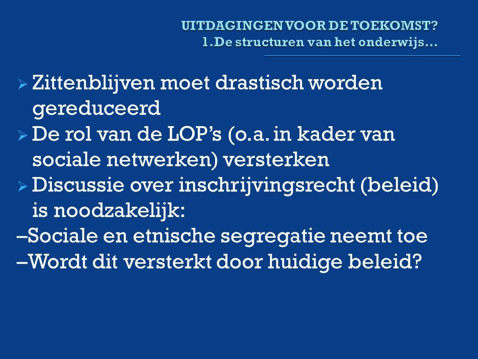  Zittenblijven moet drastisch worden gereduceerd  De rol van de LOP's (o.a.
