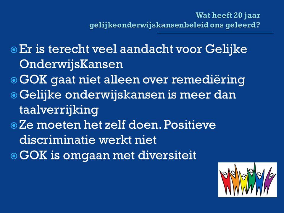  Er is terecht veel aandacht voor Gelijke OnderwijsKansen  GOK gaat niet alleen over remediëring  Gelijke onderwijskansen is meer dan taalverrijking  Ze moeten het zelf doen.