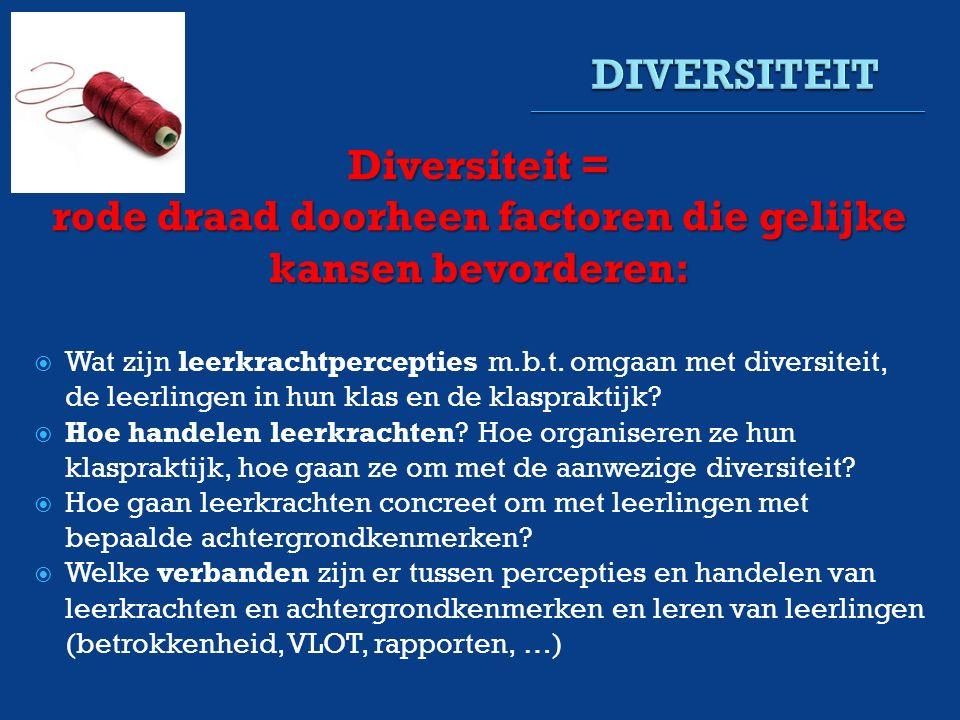 Diversiteit = rode draad doorheen factoren die gelijke kansen bevorderen:  Wat zijn leerkrachtpercepties m.b.t.