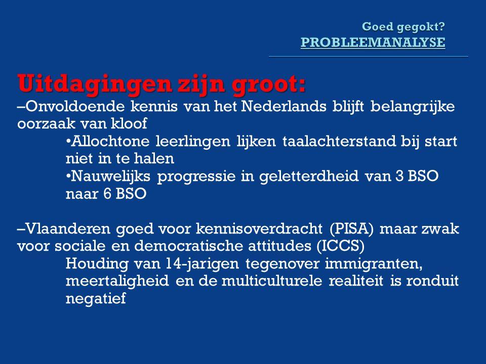 Uitdagingen zijn groot: –Onvoldoende kennis van het Nederlands blijft belangrijke oorzaak van kloof Allochtone leerlingen lijken taalachterstand bij start niet in te halen Nauwelijks progressie in geletterdheid van 3 BSO naar 6 BSO –Vlaanderen goed voor kennisoverdracht (PISA) maar zwak voor sociale en democratische attitudes (ICCS) Houding van 14-jarigen tegenover immigranten, meertaligheid en de multiculturele realiteit is ronduit negatief