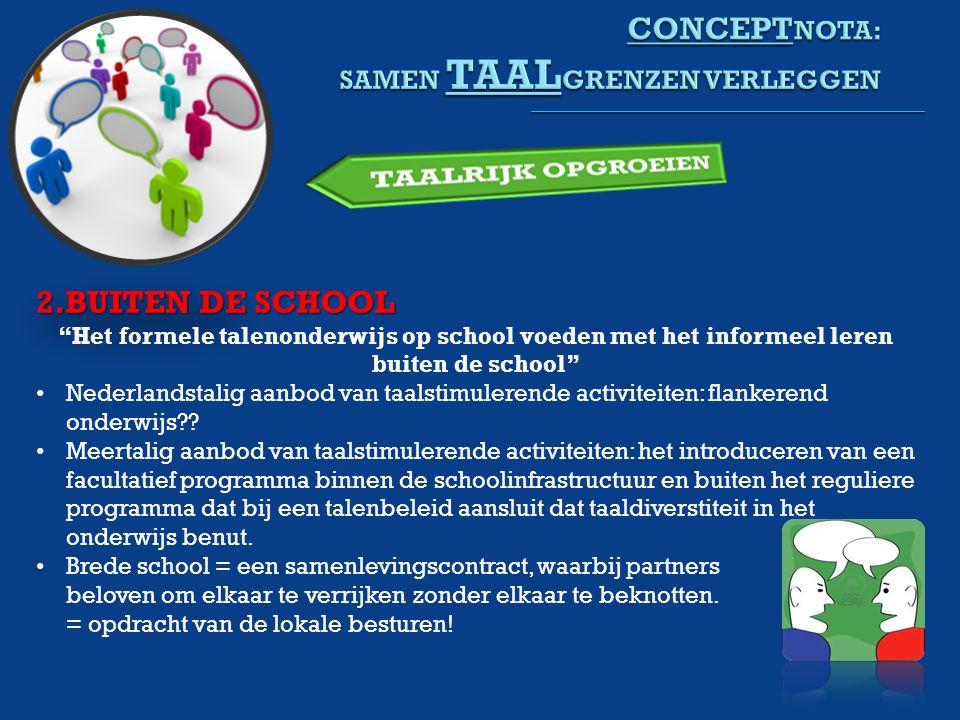 2.BUITEN DE SCHOOL Het formele talenonderwijs op school voeden met het informeel leren buiten de school Nederlandstalig aanbod van taalstimulerende activiteiten: flankerend onderwijs .
