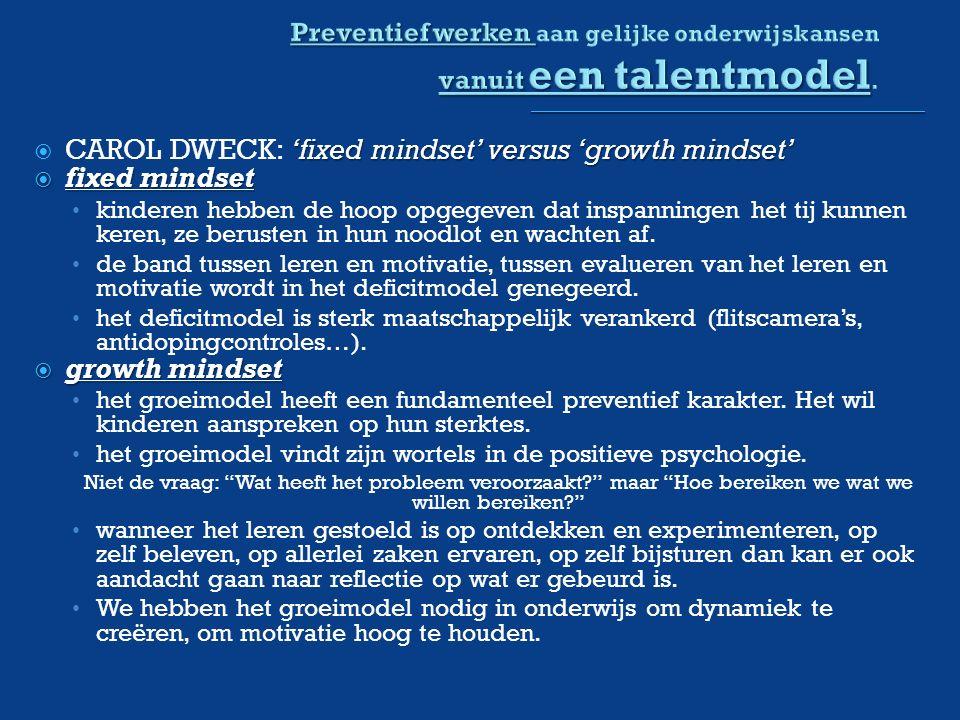 'fixed mindset' versus 'growth mindset'  CAROL DWECK: 'fixed mindset' versus 'growth mindset'  fixed mindset kinderen hebben de hoop opgegeven dat inspanningen het tij kunnen keren, ze berusten in hun noodlot en wachten af.
