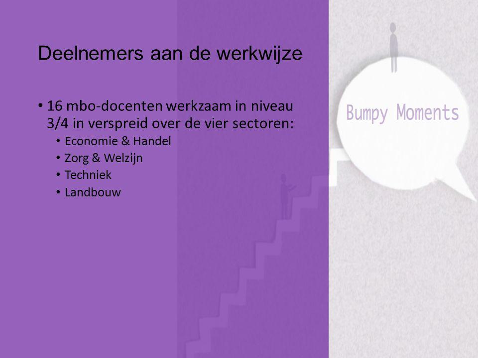 Deelnemers aan de werkwijze 16 mbo-docenten werkzaam in niveau 3/4 in verspreid over de vier sectoren: Economie & Handel Zorg & Welzijn Techniek Landb