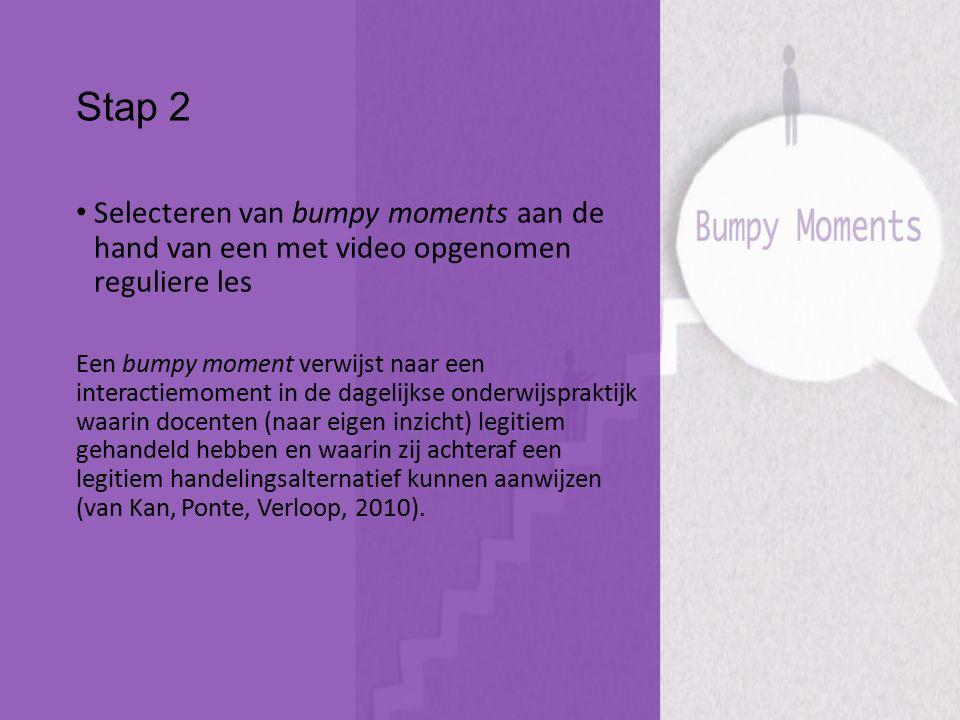 Stap 2 Selecteren van bumpy moments aan de hand van een met video opgenomen reguliere les Een bumpy moment verwijst naar een interactiemoment in de da