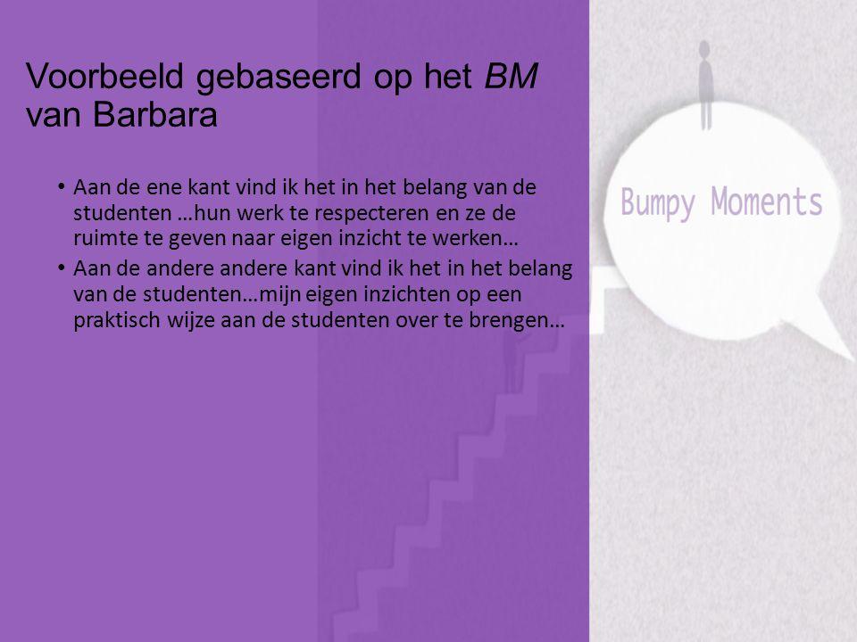 Voorbeeld gebaseerd op het BM van Barbara Aan de ene kant vind ik het in het belang van de studenten …hun werk te respecteren en ze de ruimte te geven