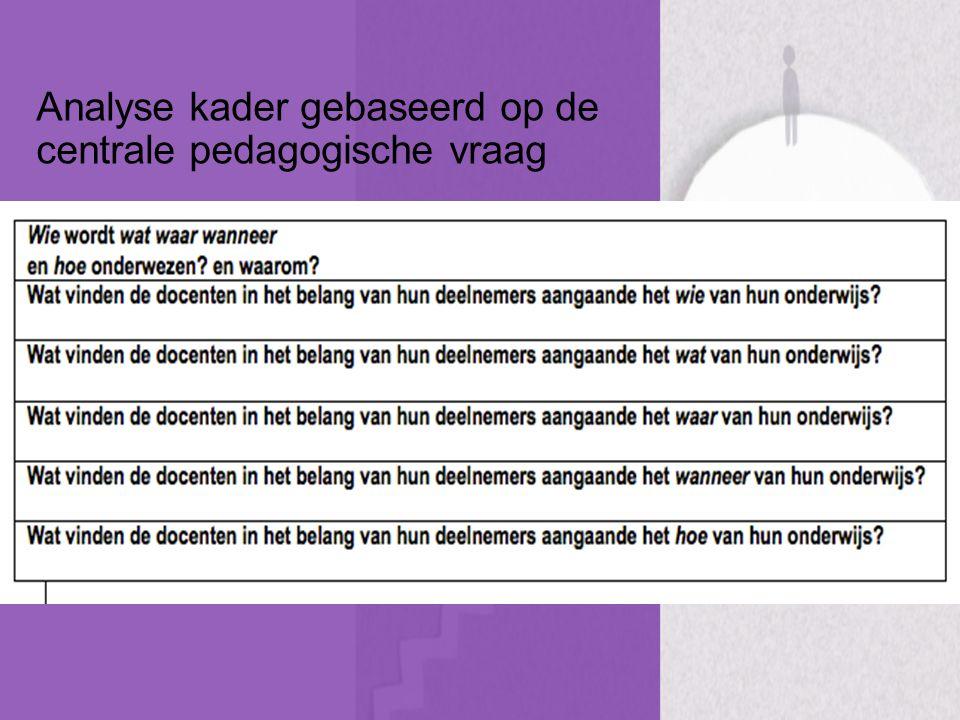 Analyse kader gebaseerd op de centrale pedagogische vraag
