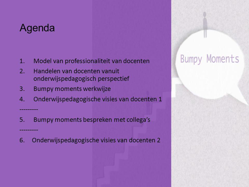 Agenda 1.Model van professionaliteit van docenten 2.Handelen van docenten vanuit onderwijspedagogisch perspectief 3.Bumpy moments werkwijze 4.Onderwij