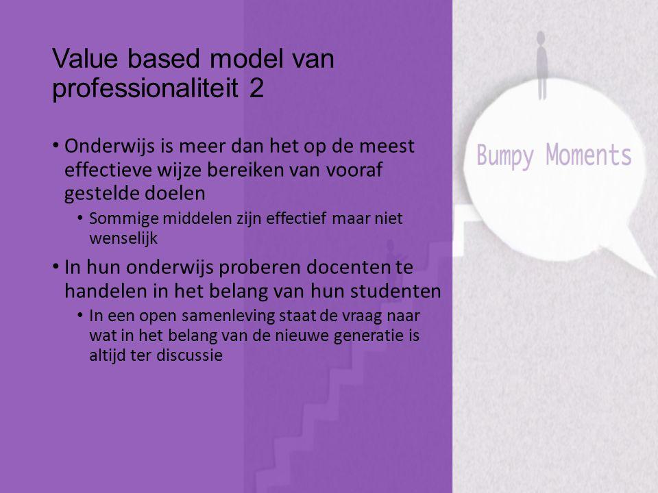 Value based model van professionaliteit 2 Onderwijs is meer dan het op de meest effectieve wijze bereiken van vooraf gestelde doelen Sommige middelen