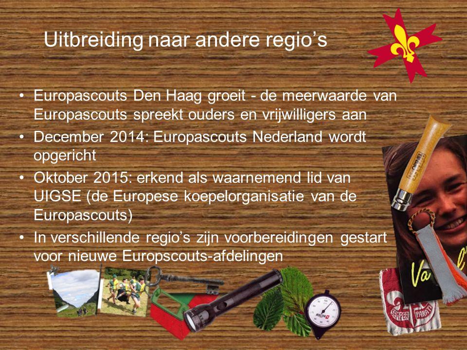 Uitbreiding naar andere regio's Europascouts Den Haag groeit - de meerwaarde van Europascouts spreekt ouders en vrijwilligers aan December 2014: Europ