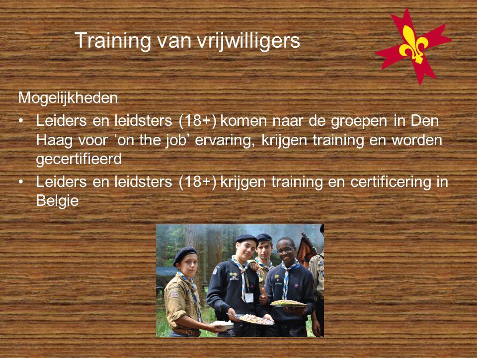 Training van vrijwilligers Mogelijkheden Leiders en leidsters (18+) komen naar de groepen in Den Haag voor 'on the job' ervaring, krijgen training en