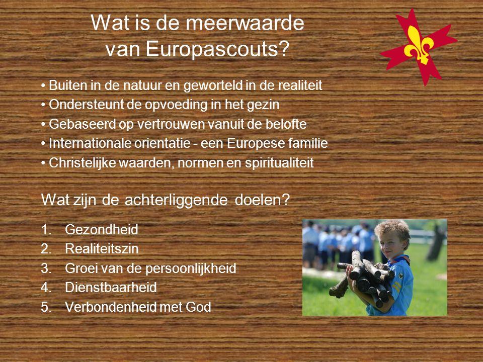 Wat is de meerwaarde van Europascouts? 1.Gezondheid 2.Realiteitszin 3.Groei van de persoonlijkheid 4.Dienstbaarheid 5.Verbondenheid met God Buiten in