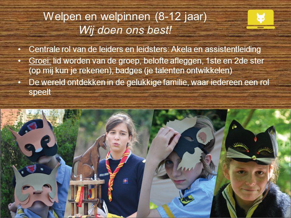 Welpen en welpinnen (8-12 jaar) Wij doen ons best! Centrale rol van de leiders en leidsters: Akela en assistentleiding Groei: lid worden van de groep,