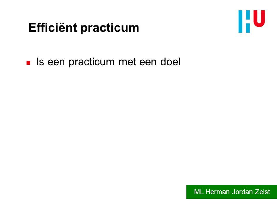 Efficiënt practicum n Is een practicum met een doel ML Herman Jordan Zeist