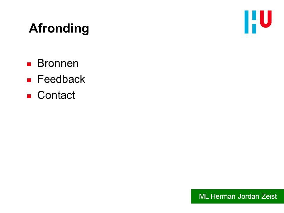 Afronding n Bronnen n Feedback n Contact