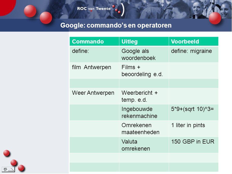 Google: commando's en operatoren CommandoUitlegVoorbeeld define:Google als woordenboek define: migraine film AntwerpenFilms + beoordeling e.d.