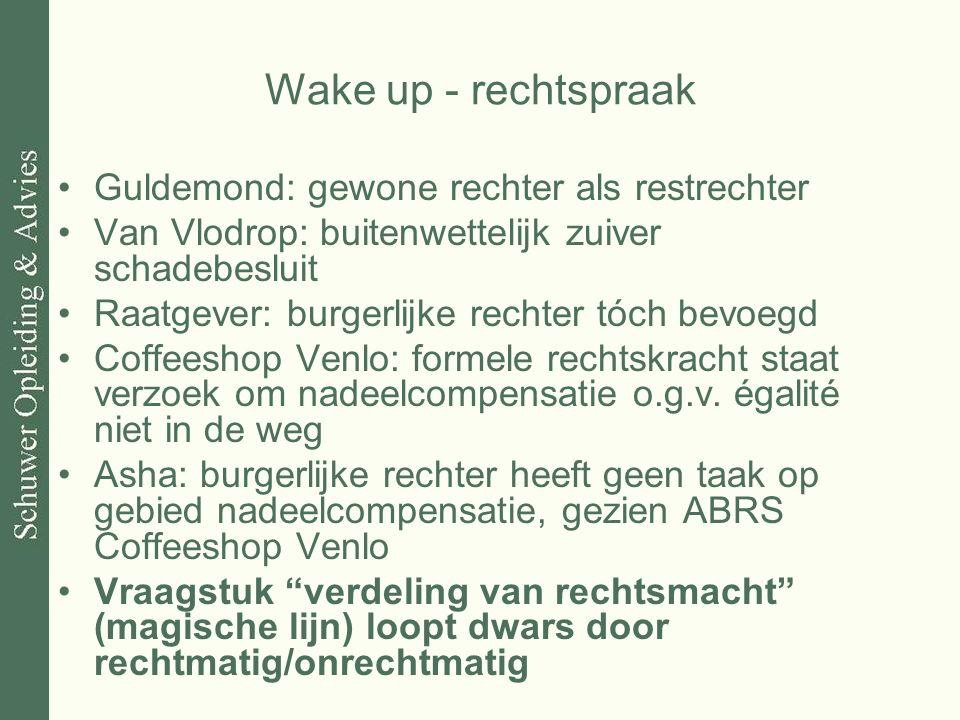 Wake up - rechtspraak Guldemond: gewone rechter als restrechter Van Vlodrop: buitenwettelijk zuiver schadebesluit Raatgever: burgerlijke rechter tóch