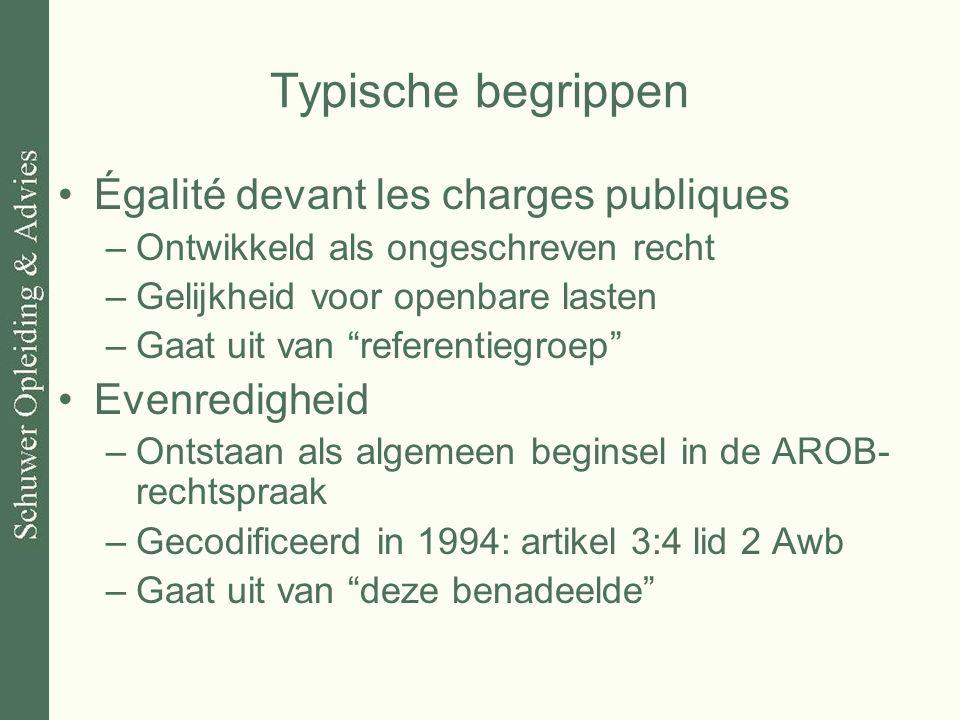 """Typische begrippen Égalité devant les charges publiques –Ontwikkeld als ongeschreven recht –Gelijkheid voor openbare lasten –Gaat uit van """"referentieg"""