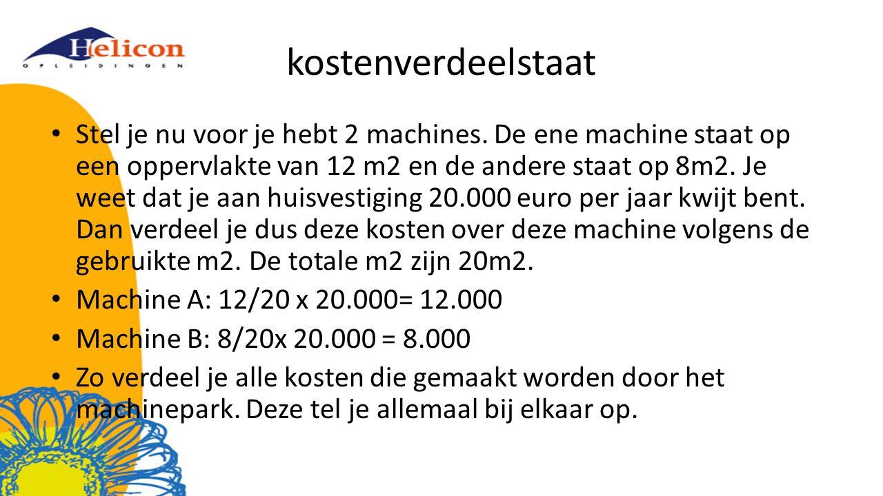 kostenverdeelstaat Stel je nu voor je hebt 2 machines. De ene machine staat op een oppervlakte van 12 m2 en de andere staat op 8m2. Je weet dat je aan