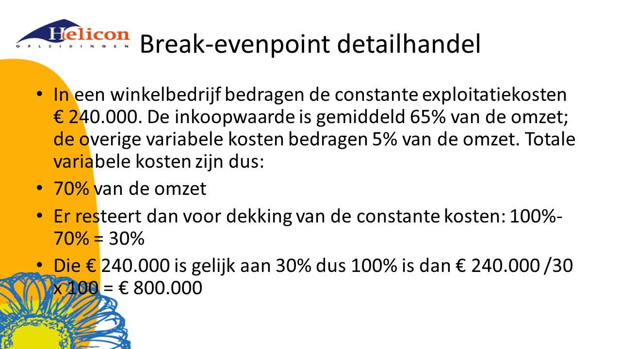 Break-evenpoint detailhandel In een winkelbedrijf bedragen de constante exploitatiekosten € 240.000. De inkoopwaarde is gemiddeld 65% van de omzet; de