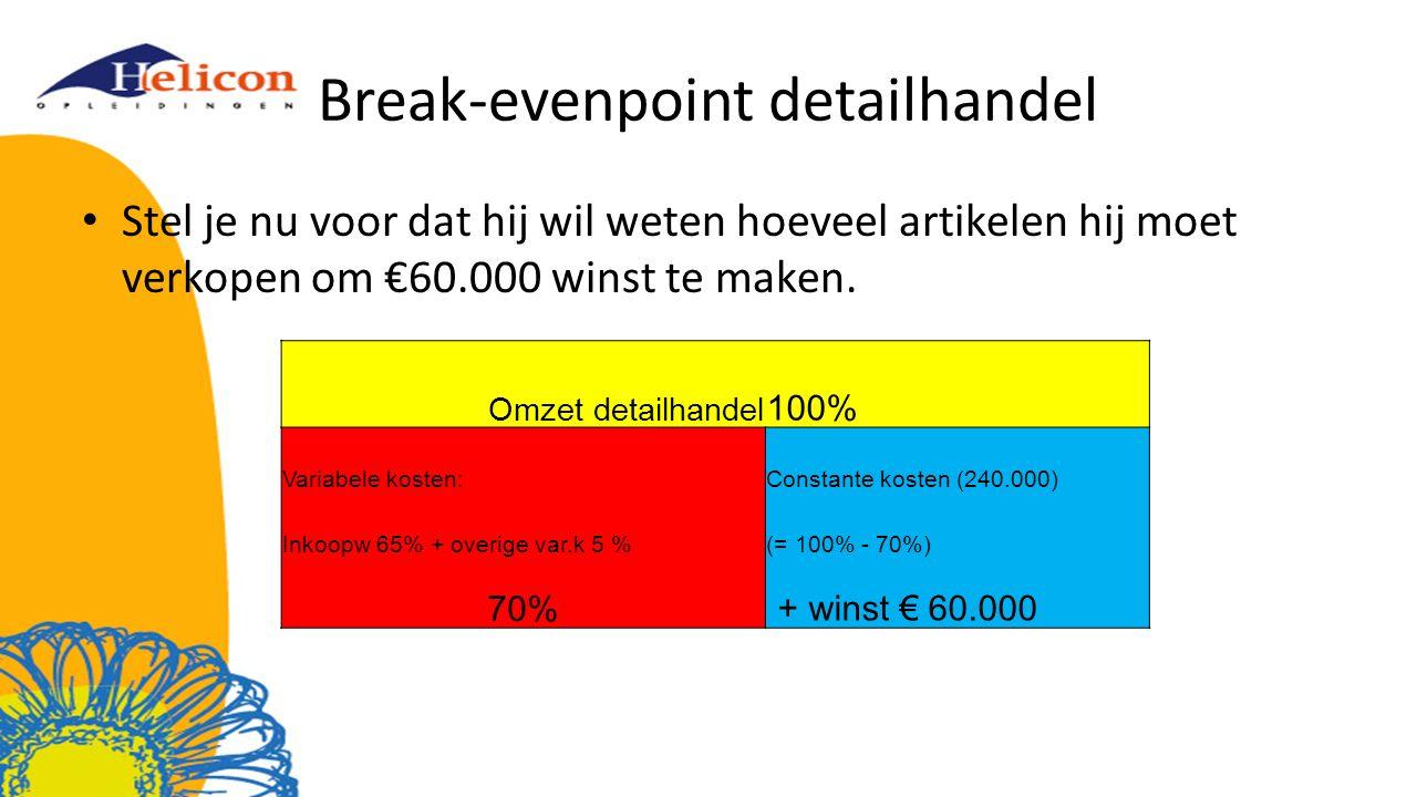 Break-evenpoint detailhandel Stel je nu voor dat hij wil weten hoeveel artikelen hij moet verkopen om €60.000 winst te maken. Omzet detailhandel 100%