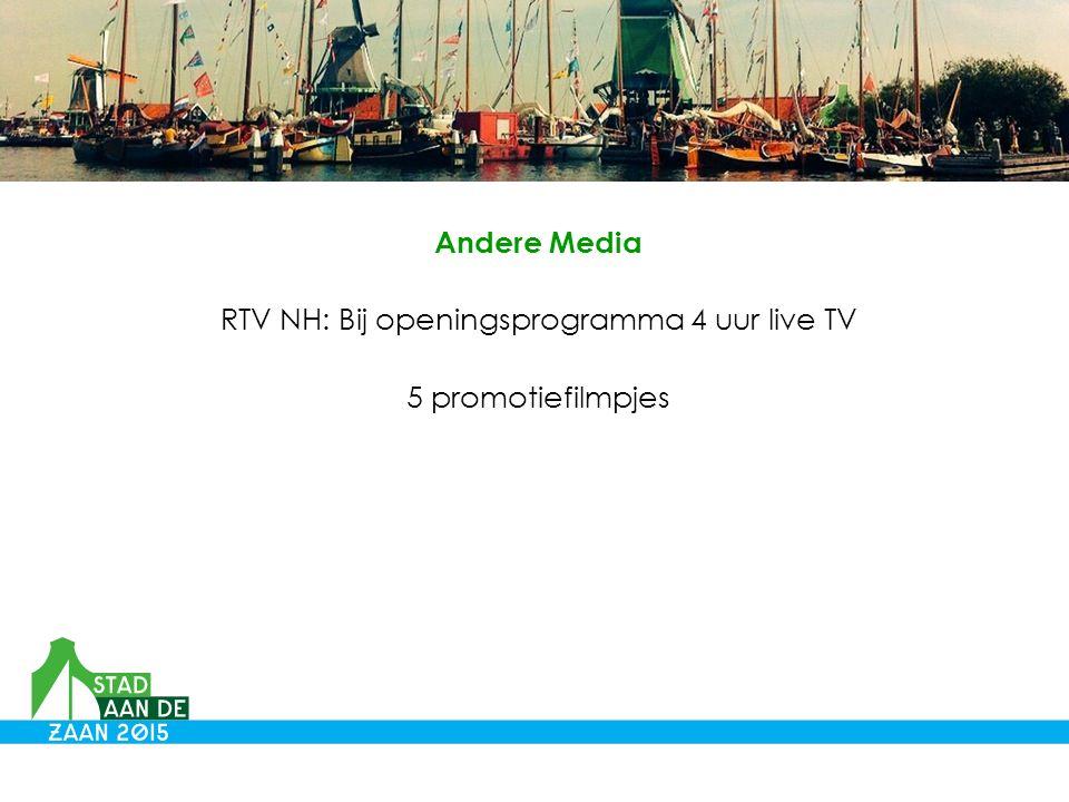 Andere Media RTV NH: Bij openingsprogramma 4 uur live TV 5 promotiefilmpjes