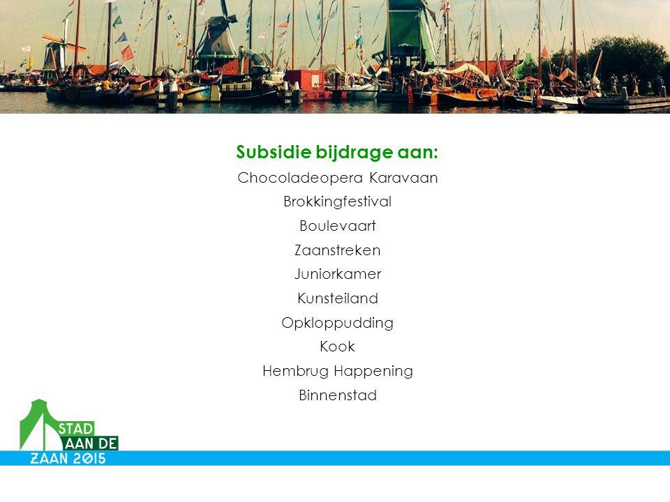 Subsidie bijdrage aan: Chocoladeopera Karavaan Brokkingfestival Boulevaart Zaanstreken Juniorkamer Kunsteiland Opkloppudding Kook Hembrug Happening Binnenstad