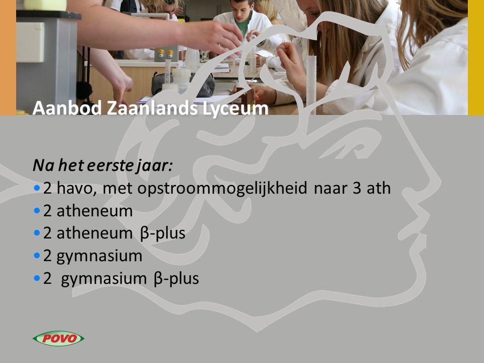 Aanbod Zaanlands Lyceum Na het eerste jaar: 2 havo, met opstroommogelijkheid naar 3 ath 2 atheneum 2 atheneum β-plus 2 gymnasium 2 gymnasium β-plus