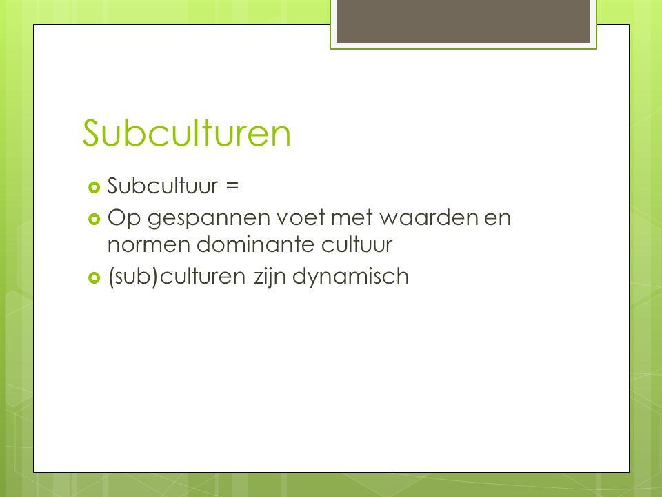 Subculturen  Subcultuur =  Op gespannen voet met waarden en normen dominante cultuur  (sub)culturen zijn dynamisch