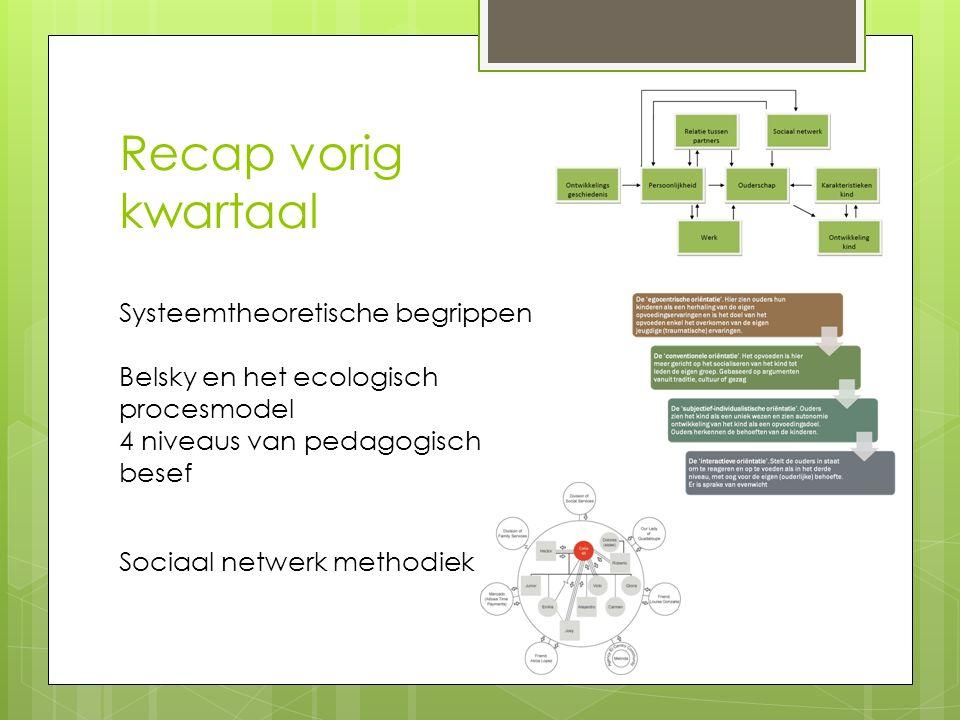 Recap vorig kwartaal Systeemtheoretische begrippen Belsky en het ecologisch procesmodel 4 niveaus van pedagogisch besef Sociaal netwerk methodiek