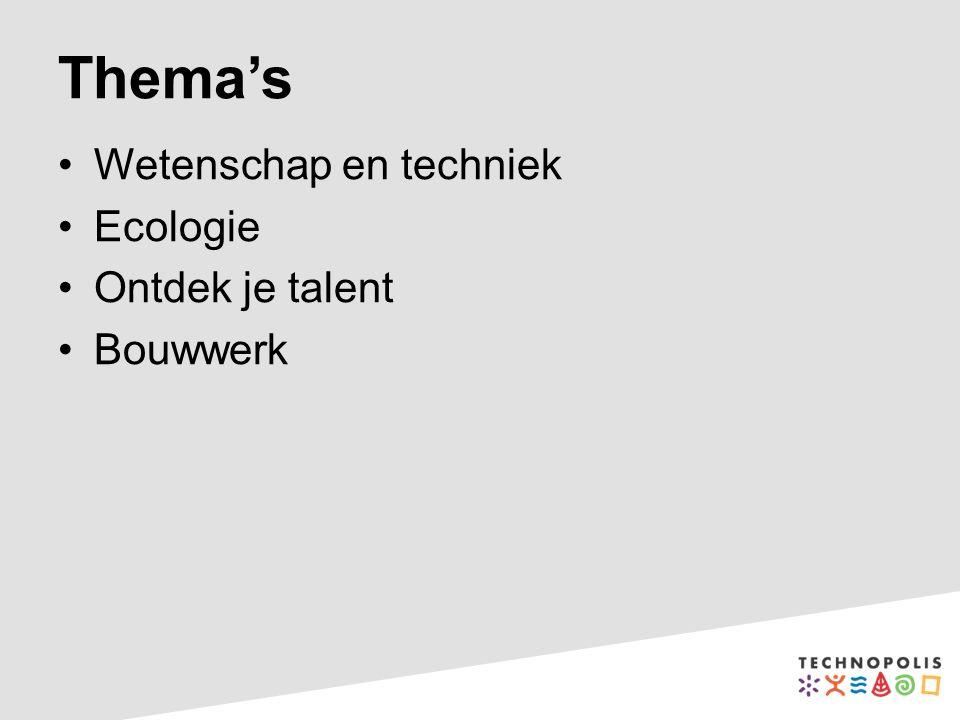 Thema's Wetenschap en techniek Ecologie Ontdek je talent Bouwwerk