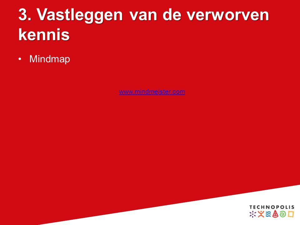 3. Vastleggen van de verworven kennis Mindmap www.mindmeister.com