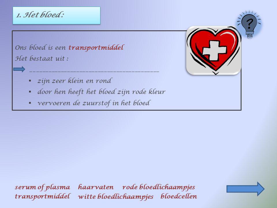 1. Het bloed : Ons bloed is een __________________________ serum of plasmahaarvatenrode bloedlichaampjes transportmiddel witte bloedlichaampjes bloedc