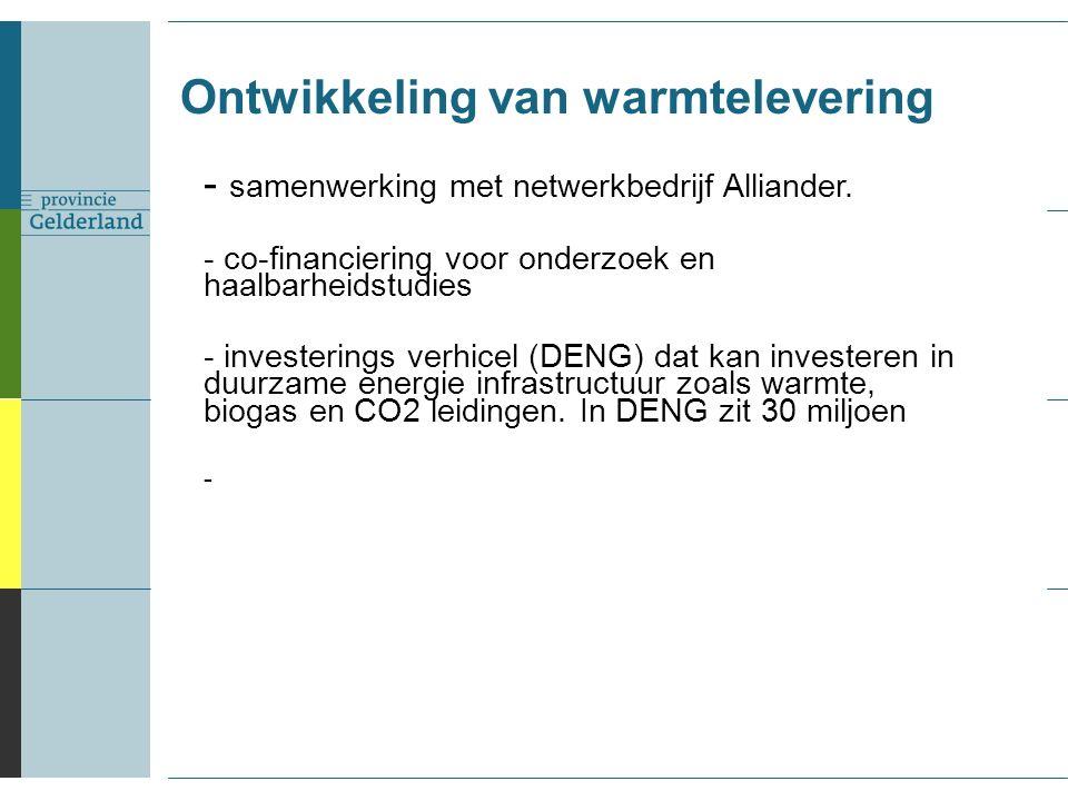 Ontwikkeling van warmtelevering - samenwerking met netwerkbedrijf Alliander.