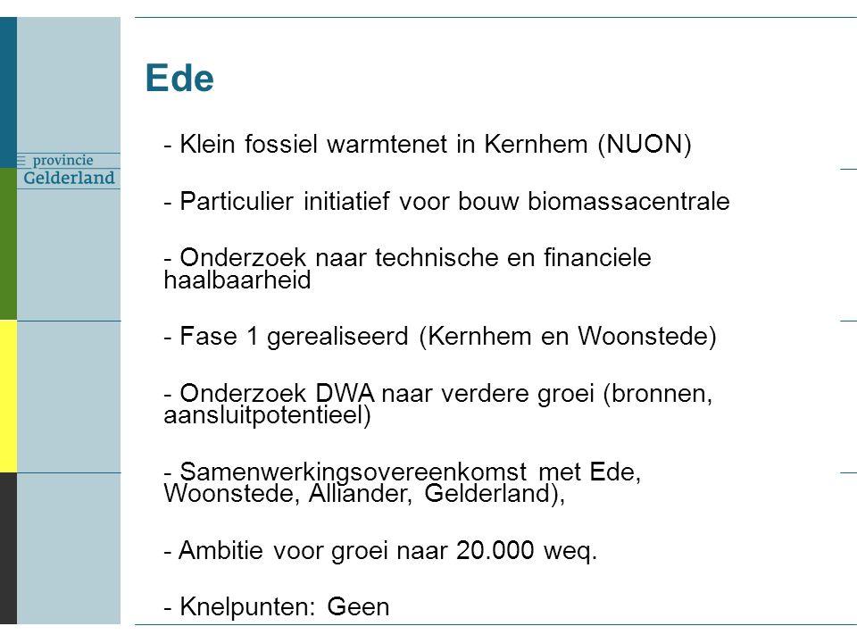 Ede - Klein fossiel warmtenet in Kernhem (NUON) - Particulier initiatief voor bouw biomassacentrale - Onderzoek naar technische en financiele haalbaarheid - Fase 1 gerealiseerd (Kernhem en Woonstede) - Onderzoek DWA naar verdere groei (bronnen, aansluitpotentieel) - Samenwerkingsovereenkomst met Ede, Woonstede, Alliander, Gelderland), - Ambitie voor groei naar 20.000 weq.