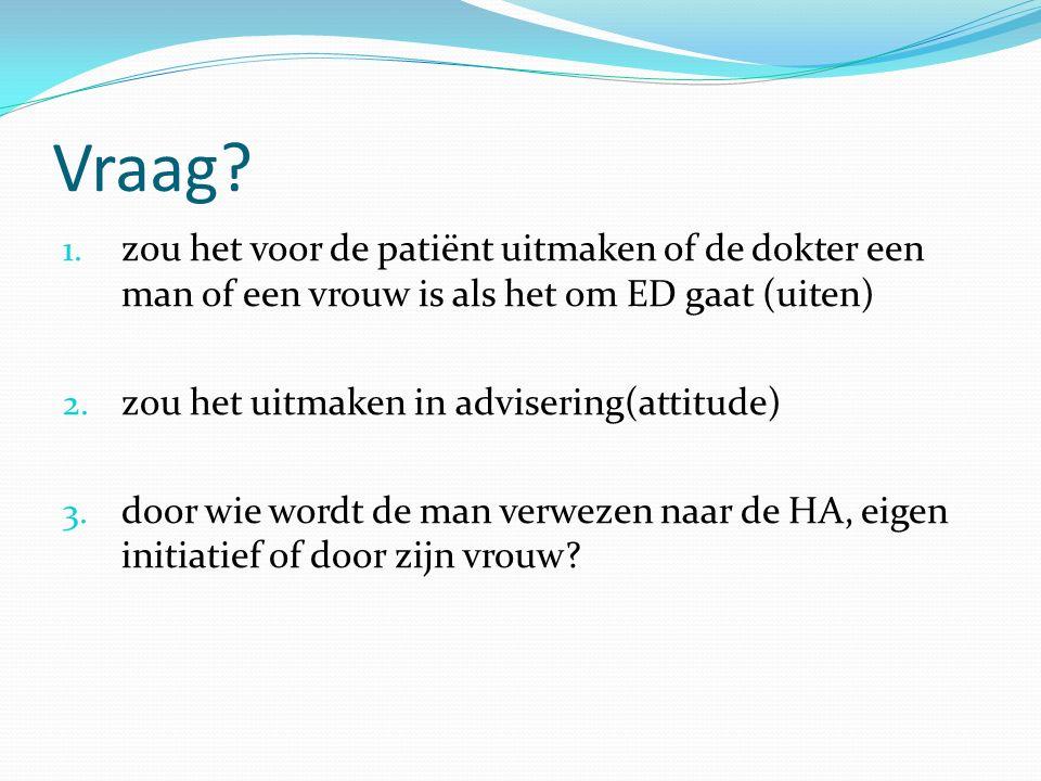 Vraag? 1. zou het voor de patiënt uitmaken of de dokter een man of een vrouw is als het om ED gaat (uiten) 2. zou het uitmaken in advisering(attitude)