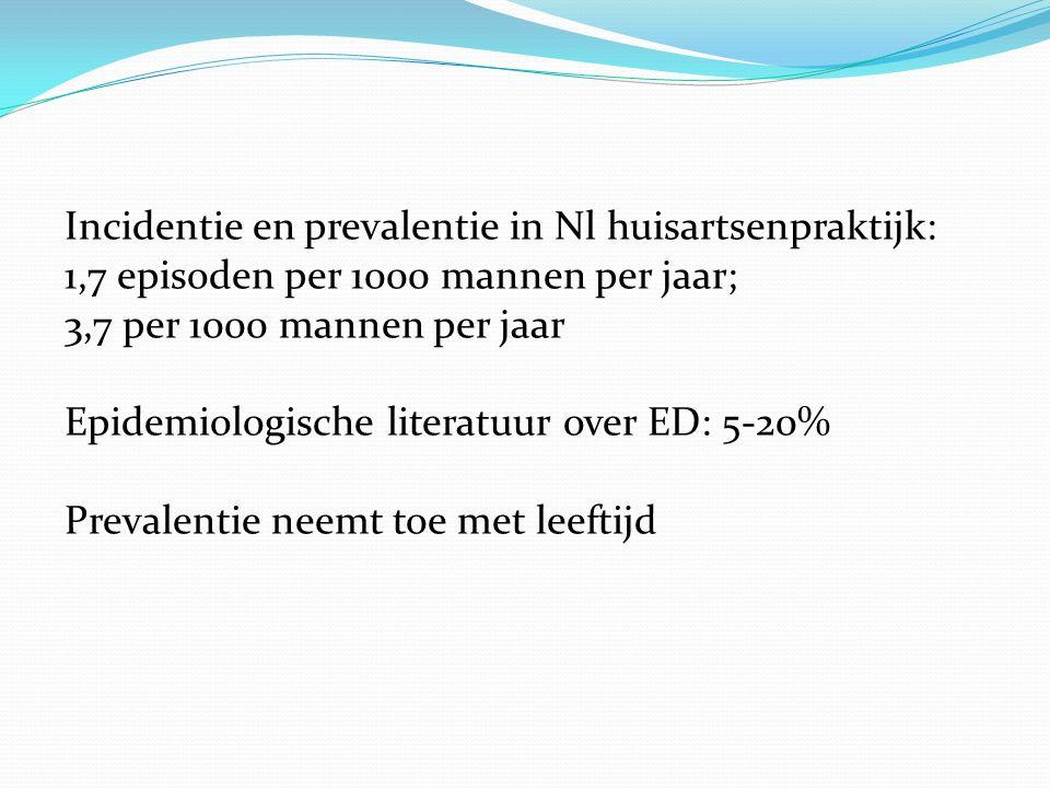Incidentie en prevalentie in Nl huisartsenpraktijk: 1,7 episoden per 1000 mannen per jaar; 3,7 per 1000 mannen per jaar Epidemiologische literatuur ov
