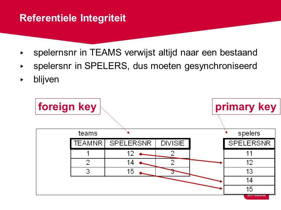 Referentiele Integriteit ▸ spelernsnr in TEAMS verwijst altijd naar een bestaand ▸ spelersnr in SPELERS, dus moeten gesynchroniseerd ▸ blijven primary keyforeign key