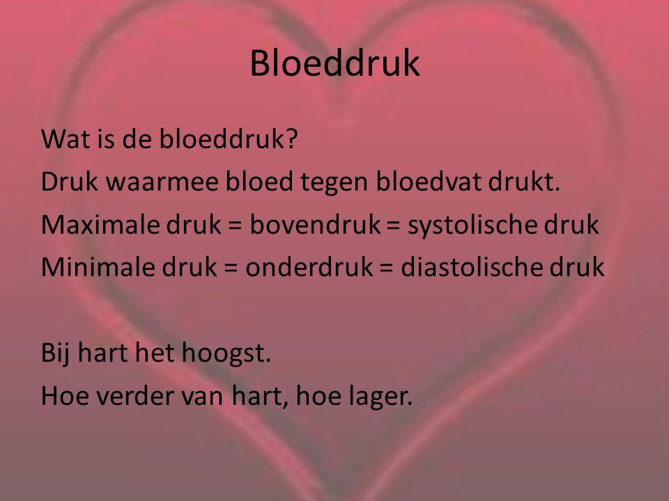 Bloeddruk Wat is de bloeddruk.Druk waarmee bloed tegen bloedvat drukt.