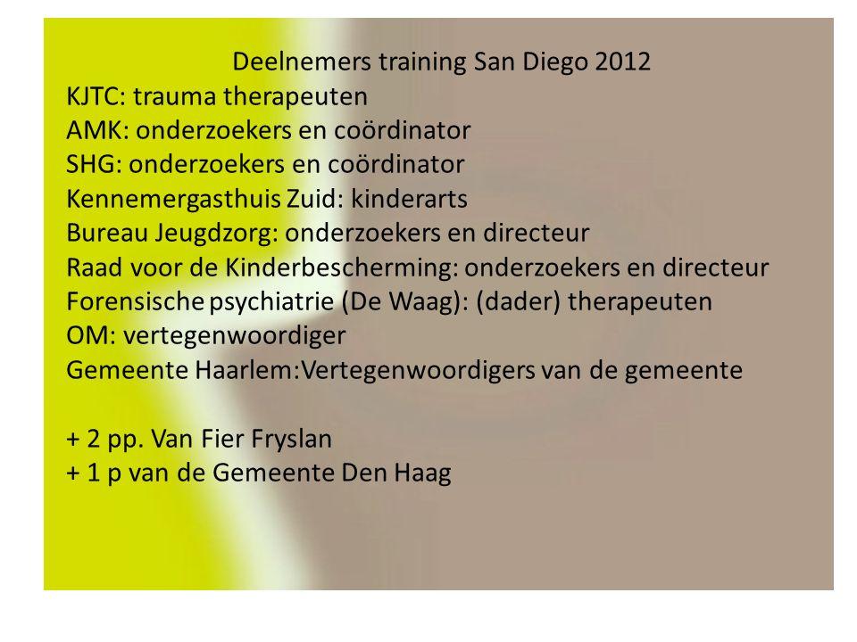 Deelnemers training San Diego 2012 KJTC: trauma therapeuten AMK: onderzoekers en coördinator SHG: onderzoekers en coördinator Kennemergasthuis Zuid: kinderarts Bureau Jeugdzorg: onderzoekers en directeur Raad voor de Kinderbescherming: onderzoekers en directeur Forensische psychiatrie (De Waag): (dader) therapeuten OM: vertegenwoordiger Gemeente Haarlem:Vertegenwoordigers van de gemeente + 2 pp.
