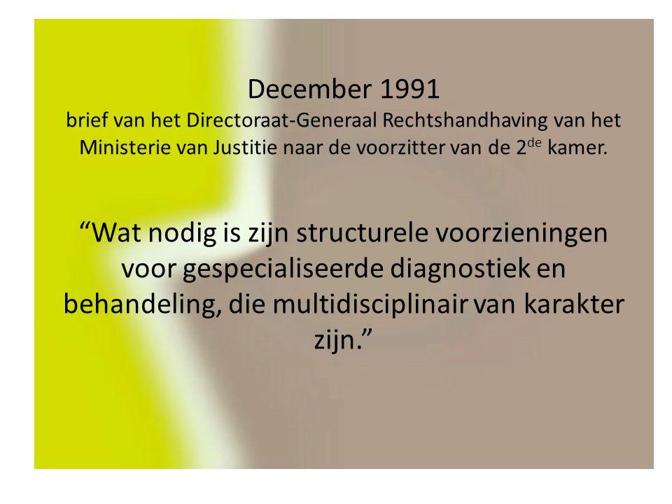 December 1991 brief van het Directoraat-Generaal Rechtshandhaving van het Ministerie van Justitie naar de voorzitter van de 2 de kamer.